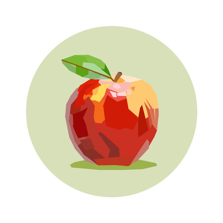red apple draw in green circle Vector