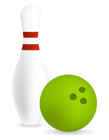 skittle: pin with green bowling ball