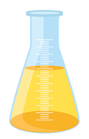 toxic substance: Yellow lab beaker with measures Illustration