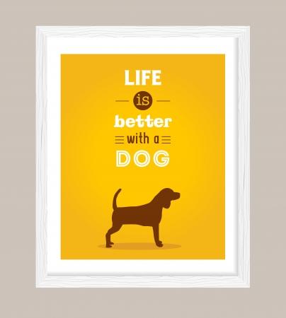 hond poster, het leven is beter met een hond Vector Illustratie