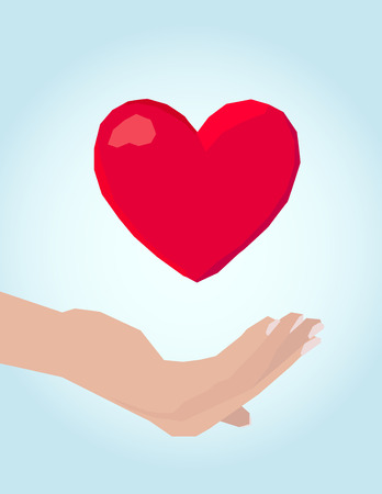 Women hand, care of heart Vector
