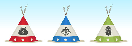 3 Tepee houses with animals draw Vector