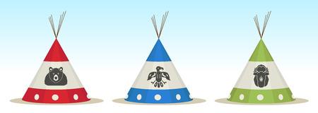 tepee: 3 Tepee houses with animals draw Illustration