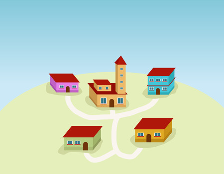 small village with houses and roads Vector