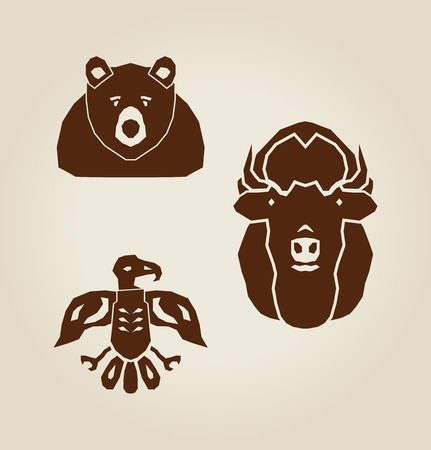 indian animals in brown colors Vector