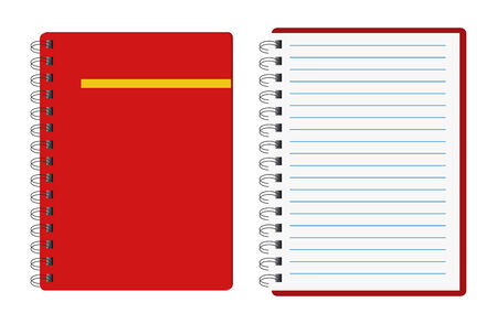 yellow notebook: red notebooks, open and close