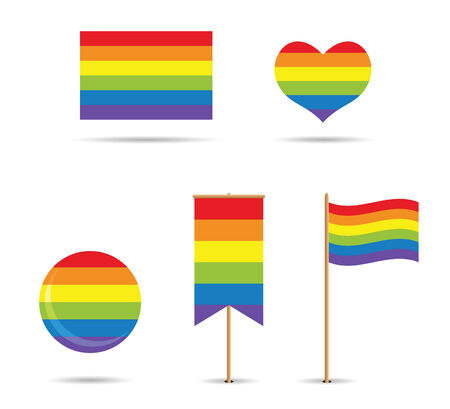 set of gay flags with rainbow Vector