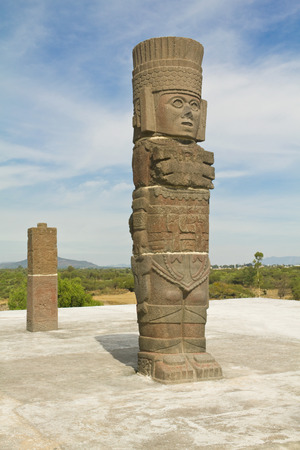 pre columbian: toltec sculpture piramid in Tula Mexico Stock Photo