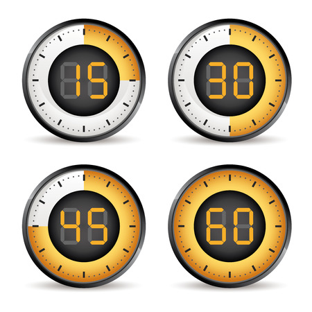 45: set of four timers, 15,30,45,60 dial