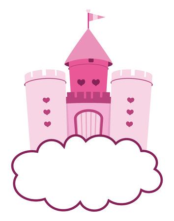 castillos de princesas: lindo castillo de color rosa en las nubes