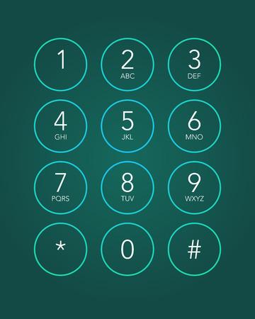 telefon: Klawiatura telefonu w urządzeniu z ekranem dotykowym Ilustracja