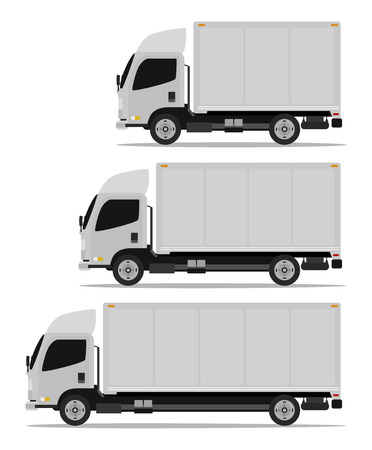 delivery van: truck cargo set three models