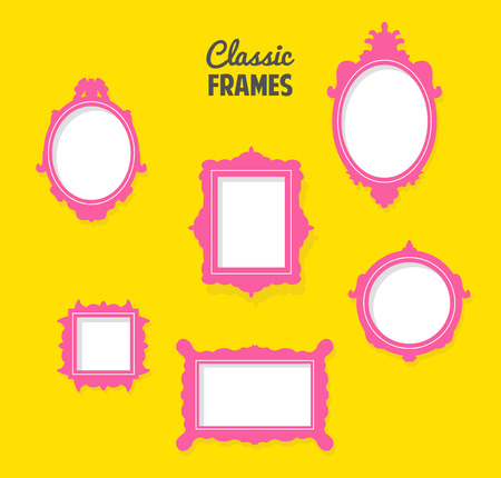 vintage photo: set of classic frames silhouettes Illustration