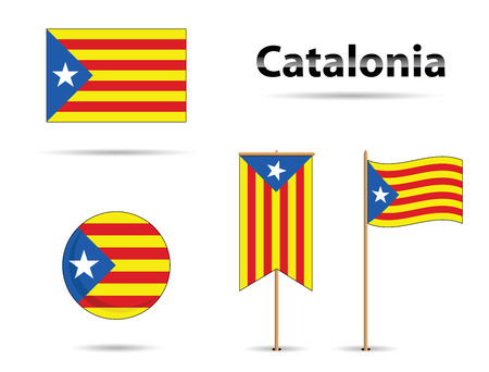 set of catalonia flags, europe zone