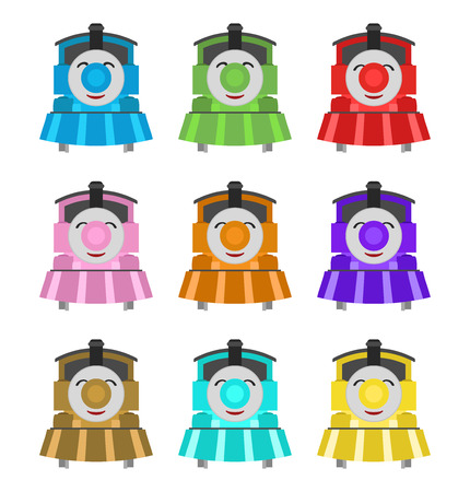 happy kids trains, fun colors Vector