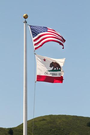 california flag: USA and California flag waving Stock Photo