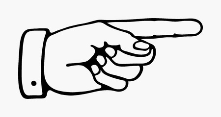 retro pointing hand in black and white Vector