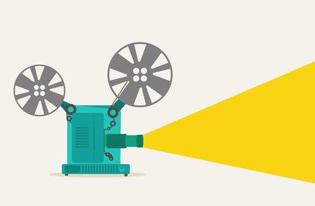 green vintage movie projector super 8 Vector