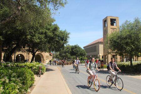 Stanford university, California USA, april 2014 bike university students