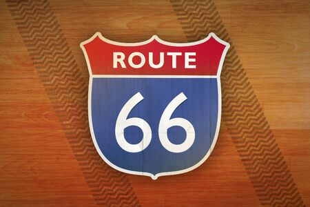 interstate: vintage route 66 sign illustration Stock Photo