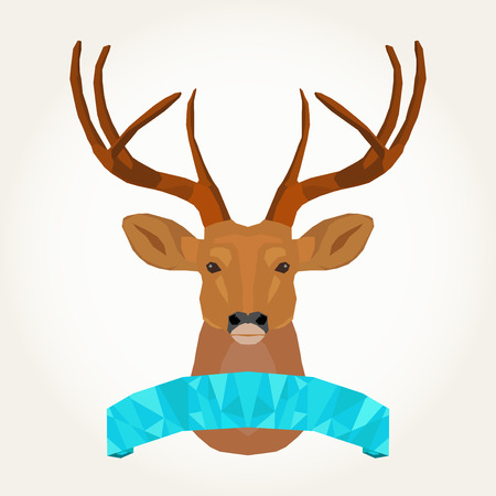 reindeer and flag make with polygons 일러스트
