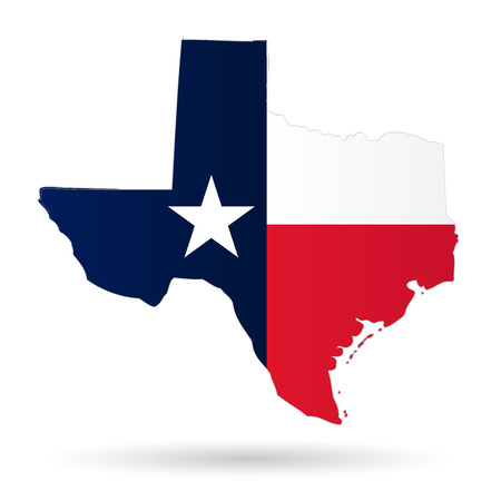 states: texas american state with flag silhouette