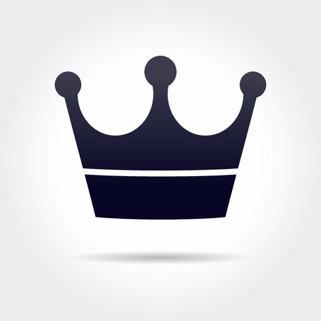 beauty queen: black crown icon in grey background Illustration
