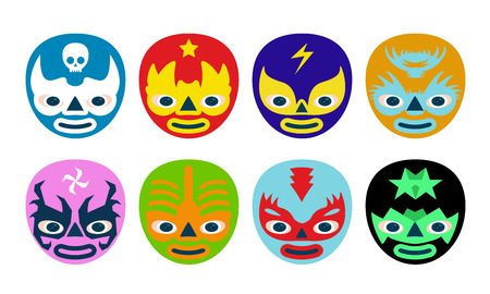 Color mexican wrestlers mask for kids Vector