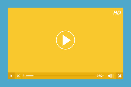 video player: minimalistic video player in yellow and blue