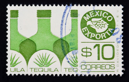 MEXICO - CIRCA 1980: Stamp printed in the Mexico export tequila