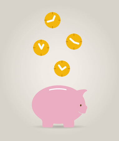 piggy bank with clocks