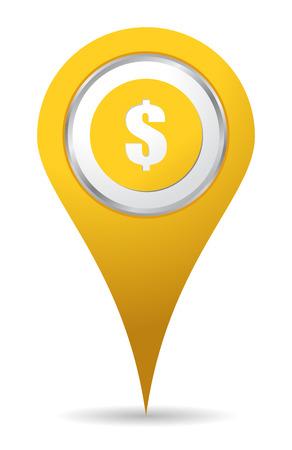 geld: locatie geld pictogram met teken