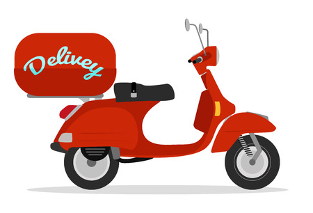 motor scooter: red delivery scooter vintage style