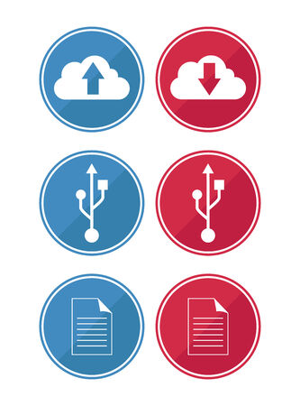 data and cloud icons in red and blue Stock Illustratie