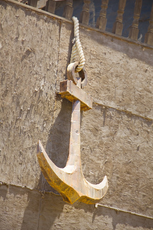 ship anchor: anchor in the side of ship