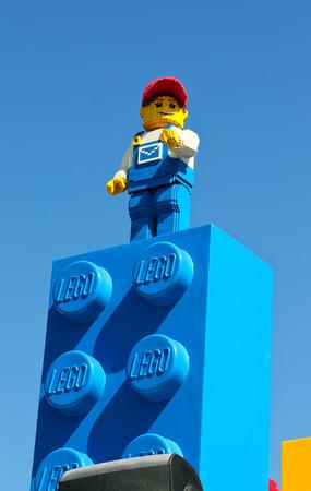 yellow lego block: CARLSBAD, California USA- APRIL 2014: Legoland California Lego men Editorial
