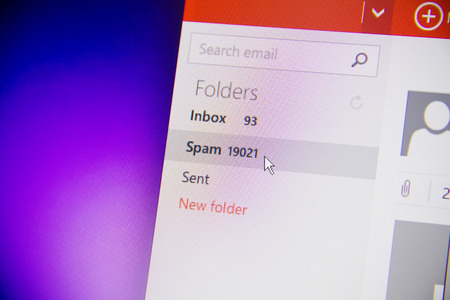 inbox: spam mail monitor of computer Stock Photo