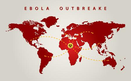 ebola world outbreak graphic propagation Illustration