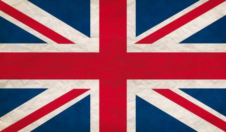 britain flag: Grungy UK flag, retro paper texture Stock Photo