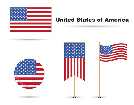 set of usa flags, stars and stripes