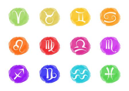 zodiac signs in watercolors Vettoriali