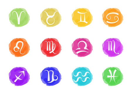 zodiac signs in watercolors Illustration