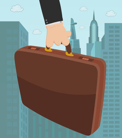 Briefcase in a hand, with city background Vector