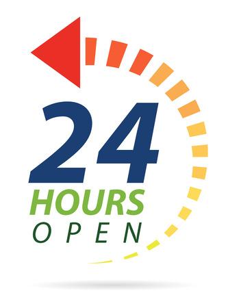 Klare Farb 24 Stunden icon Standard-Bild - 33489538
