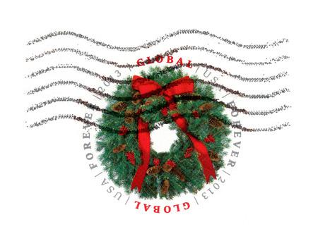 corona navidad: EE.UU. - noviembre de 2013: sello impreso por vacaciones corona estadounidense Mensajes de Navidad