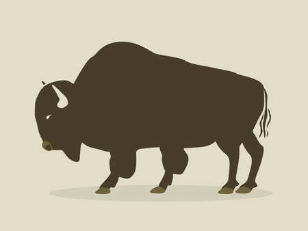 buffalo horn: buffalo silhouette with brown background Illustration