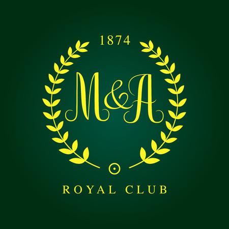 golden monogram with  Laurel Wreaths in green