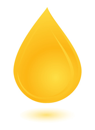 yellow oil drop with shadow Stock Illustratie
