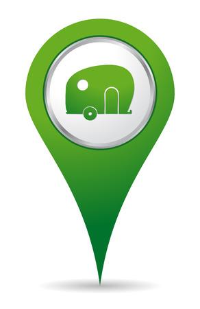 location caravan icon in green color Vectores