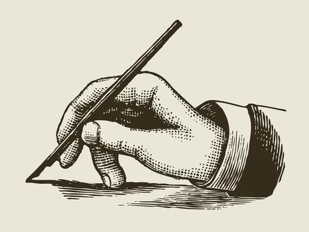 persona escribiendo: estilo grabado mano que escribe la vendimia Vectores